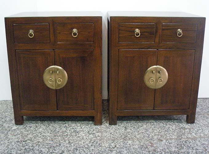 07 Custom Make Brown 2drawer 2door Bedside Cabinet