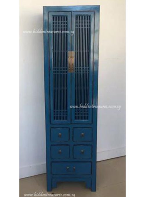 Antique Blue Fretwork 2 Doors